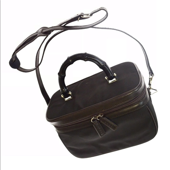 Gucci Handbags - GUCCI Bamboo Vanity Leather Shoulder Nylon Bag